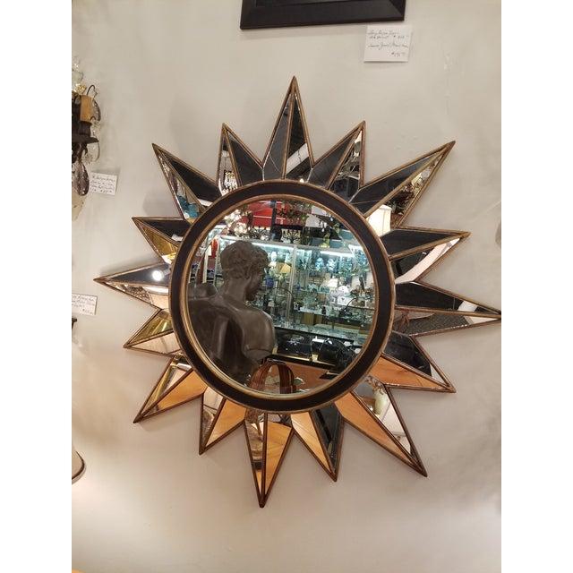 Modern Gold & Black Mirrored Sunburst Beveled Mirror - Image 2 of 3
