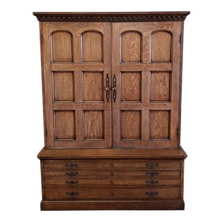 Bench Made Solid Oak English Country Style Shop Cabinet Cupboard 1980s For Sale