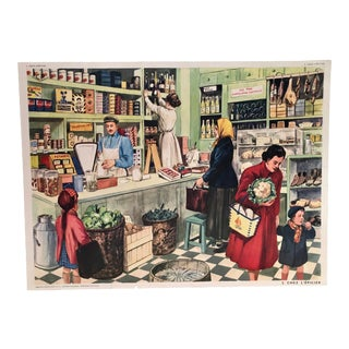 Mid Century French Grocer Vintage Poster For Sale