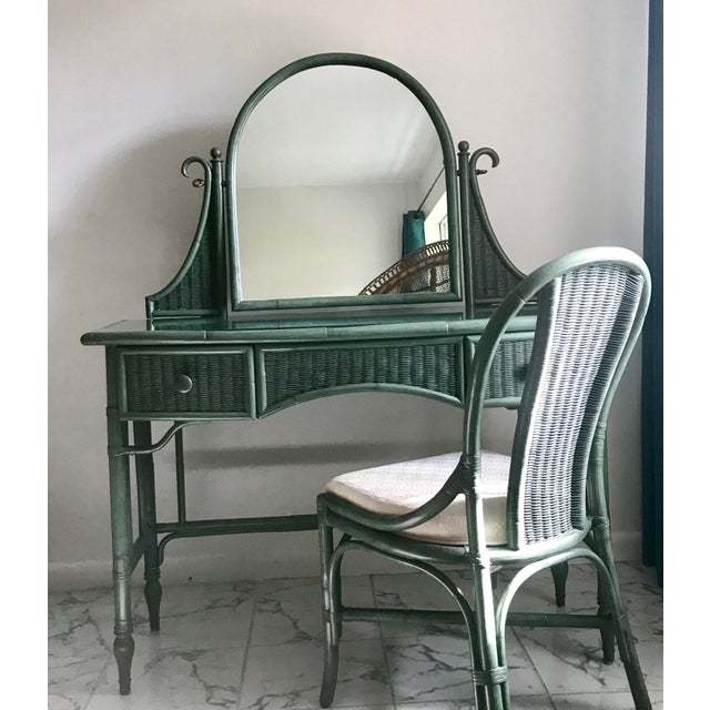 Lane Furniture Co. Rattan Cheval Mirrored Vanity Dressing Table & Chair Set - Image 8 of 11