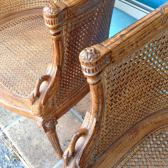 Pair of Louis XVI Style Armchairs For Sale - Image 9 of 13