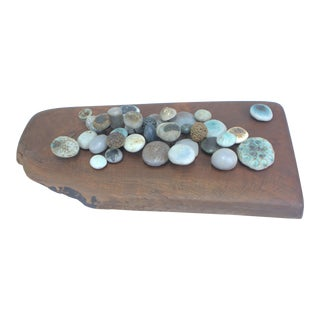 1960s Stoneware Sculpture on Solid Walnut Slab by Winni Brueggemann For Sale