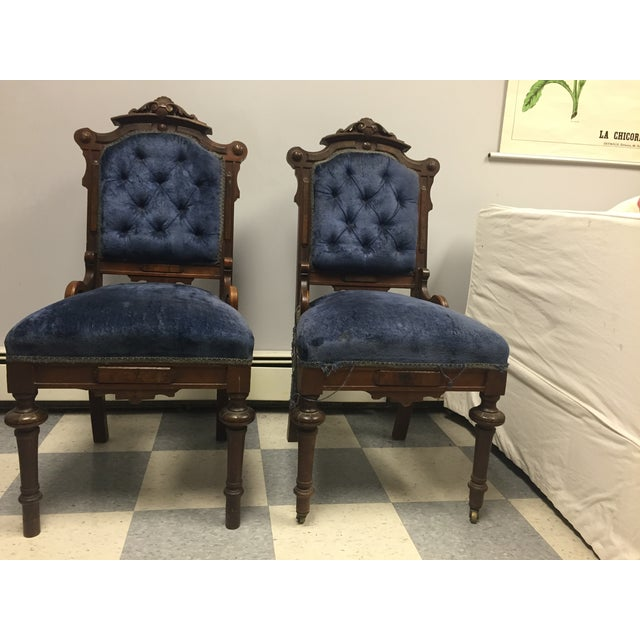Antique Eastlake Victorian Parlor Chairs - A Pair - Image 2 of 9