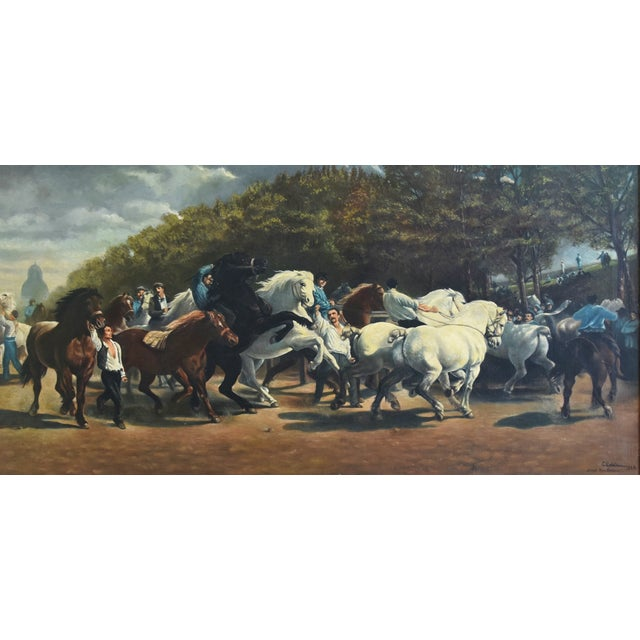 Abstract Circa 1928 Marché Aux Chevaux/Bonhuer by G. Robie Oil Painting For Sale - Image 3 of 12
