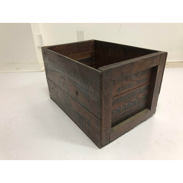 Industrial Vintage Industrial Wood Shipping Crate Box - Benjamin Franklin Sugar For Sale - Image 3 of 11