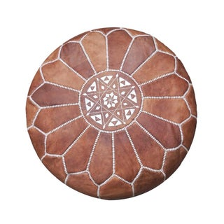 Dark Tan Moroccan Leather Pouf/Ottoman For Sale