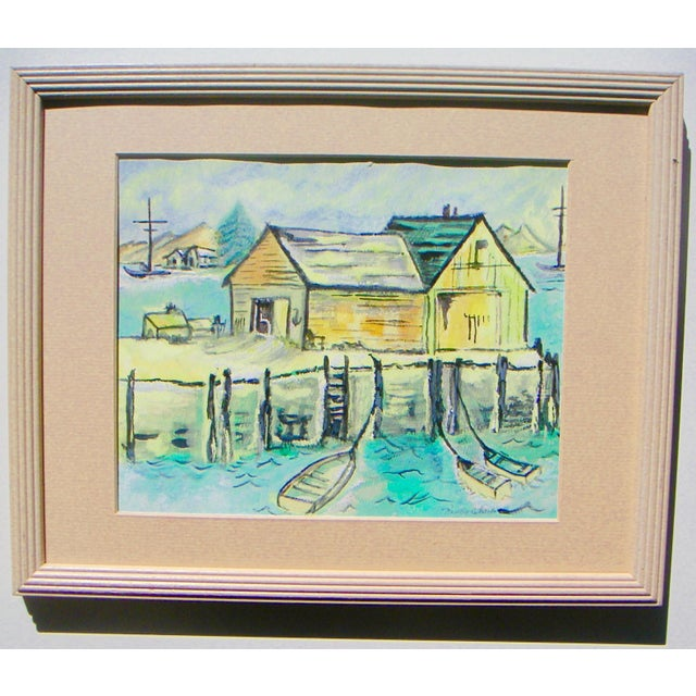 Fishing shacks on the San Joaquin River delta, above Sherman Island. A California Style watercolor by Nancy Cheek [signed...