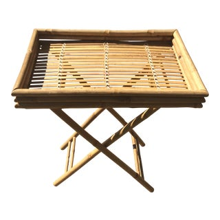 Vintage Boho Chic Bamboo Folding Side Table For Sale