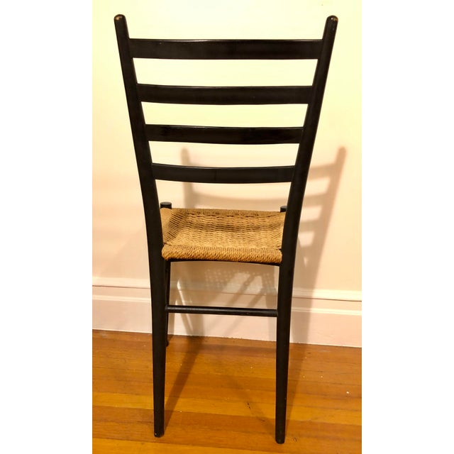 Wood Mid Century Modern Gio Ponti Black Side Chair For Sale - Image 7 of 8