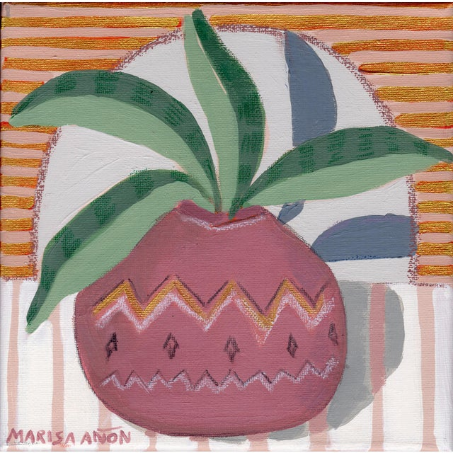 """Impressionist """"The Green Patchwork IV"""" Contemporary Still Life Mixed-Media Painting by Marisa Añón For Sale - Image 3 of 3"""