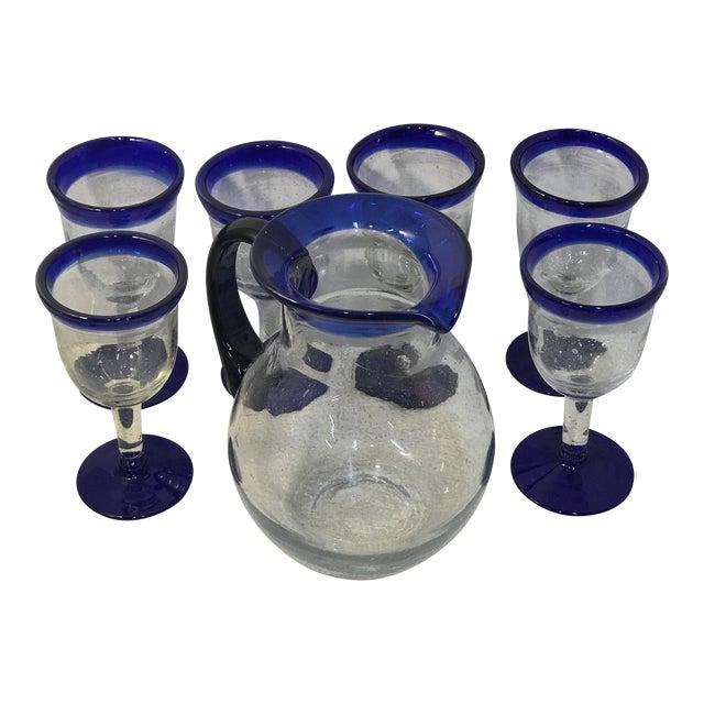 Vintage Mexican Blown Glass Cobalt Blue Rim Pitcher and Goblets - Set of 7 For Sale