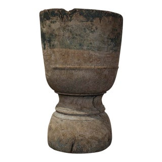 French Rustic Wooden Mortar For Sale