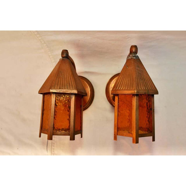 American 1940s Outdoor Copper Sconces - a Pair For Sale - Image 3 of 5