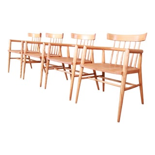 Paul McCobb Planner Group Solid Maple Spindle Back Armchairs - Set of 4 For Sale