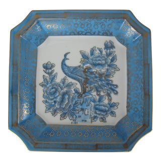 Light Blue & White Square Catchall With Peacock Design