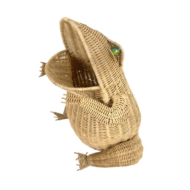 Vintage 1970s oversized wicker frog wastebasket/planter, complete with marble eyes.