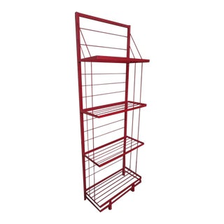 Vintage Mid Century Modern Red Wrought Iron Shelf Unit Circa 1960 For Sale