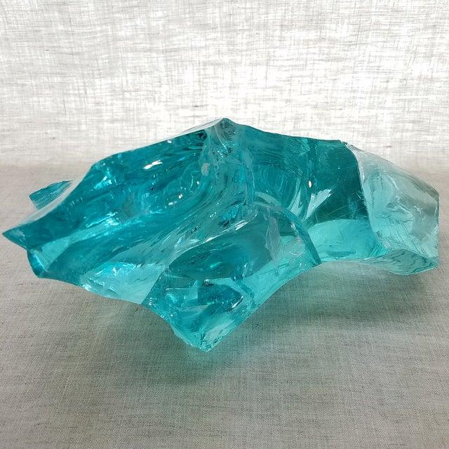 Aqua Slag Glass Sculpture For Sale - Image 5 of 9