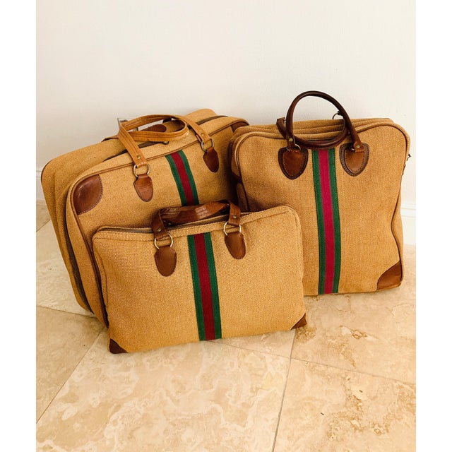 Vintage Italian Style Set of Luggage Jute and Leather, Set of 3 For Sale - Image 13 of 13