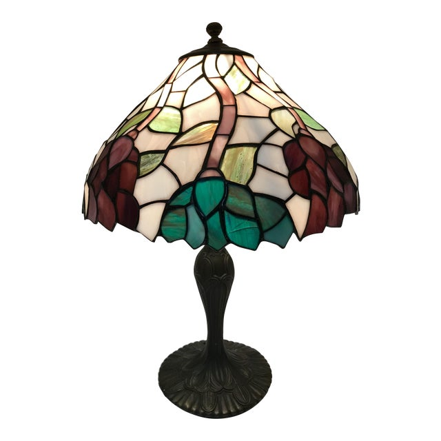 Vintage Tiffany Style Stained Glass Table Lamp For Sale