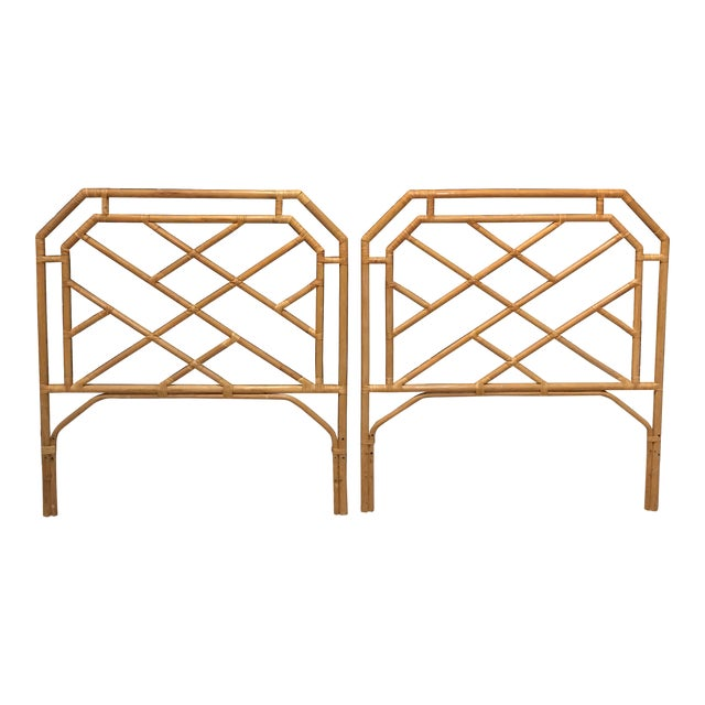 Chippendale Rattan Bamboo Headboards - a Pair For Sale