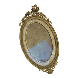 Antique French Oval Bronze Frame For Sale