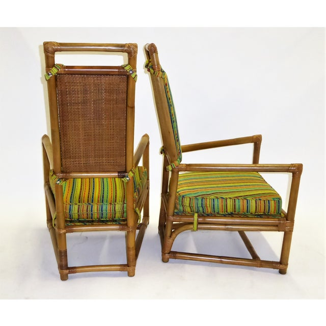 1950s Pair of Tommi Parzinger High Back Rattan Armchairs for Willow & Reed Pavillion Collection, 1950s For Sale - Image 5 of 13