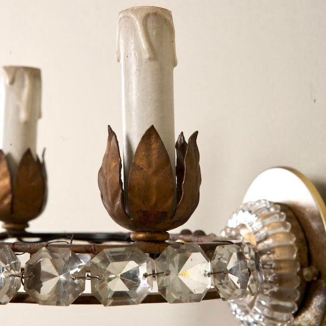French Three Light Oval Crystal Beads Sconces - Pair For Sale In Detroit - Image 6 of 8