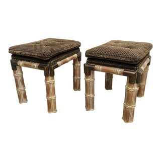 Faux Bamboo Brown Stools Benches - a Pair For Sale