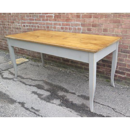 Antique French Dining Table in Pine With Waxed Top For Sale - Image 4 of 6