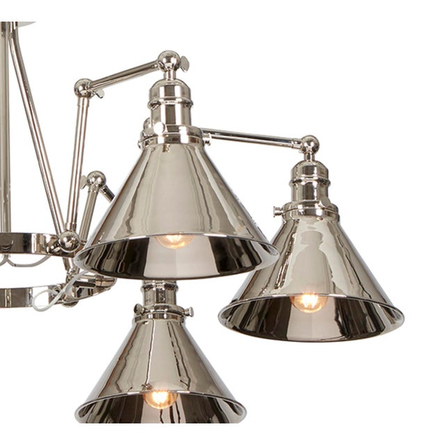 Mid-Century Modern Provence 6-Arm Chandelier in Polished Nickel For Sale - Image 3 of 6