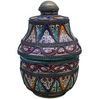 Andalusian Ceramic Box W/ Fine Filigree For Sale