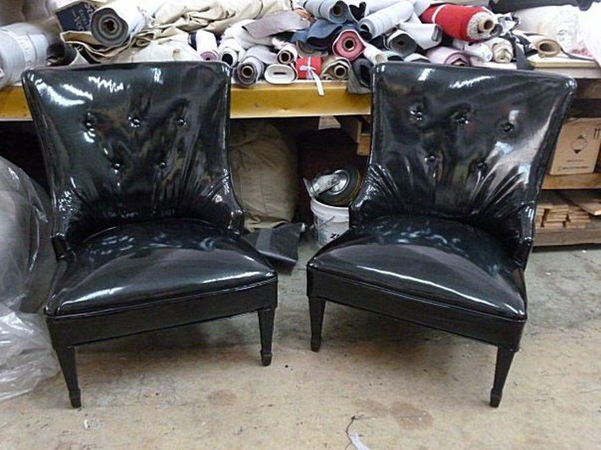 Black 1940u0027s Vintage Grosfeld House Dorothy Draper Style Hollywood Regency  Slipper Chairs  A Pair For