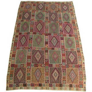 1850s Antique Flat Weave Kilim Wool Area Rug 14'4'' X 9'8'' For Sale
