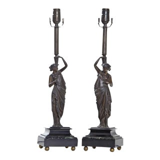 Mid 19th Century Neoclassical Ladies on Marble Bases - a Pair For Sale