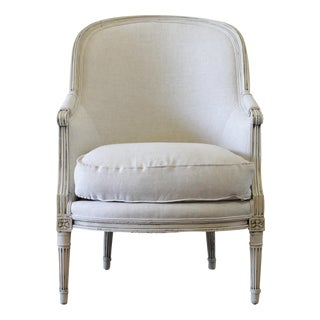 Early 20th Century Louis XVI Style Painted Bergere Chair For Sale