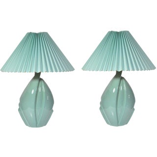Pair Mid Century Modern Hollywood Regency Green Ceramic Art Pottery Harris Lamps