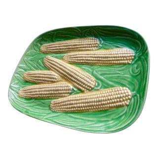 1930s Cottage Majolica Ceramic Corn Platter For Sale