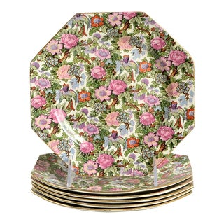 Crown Ducal Victoria Octagonal Salad Plates - Set of 6 For Sale