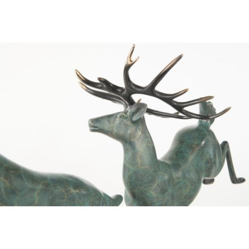 Adirondack Two Running Stag Reindeer Bronze Statue For Sale - Image 3 of 9