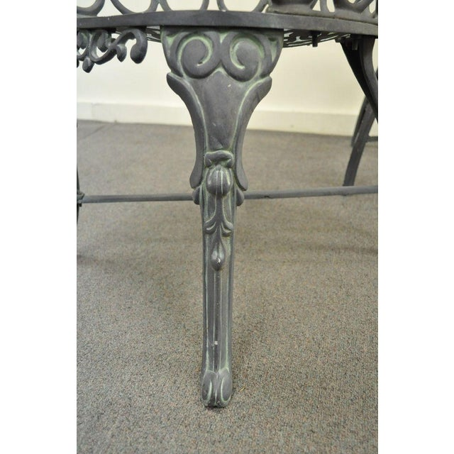 Vintage Cast Aluminum Heart Back French Style Patio Chairs - Set of 4 For Sale - Image 9 of 11