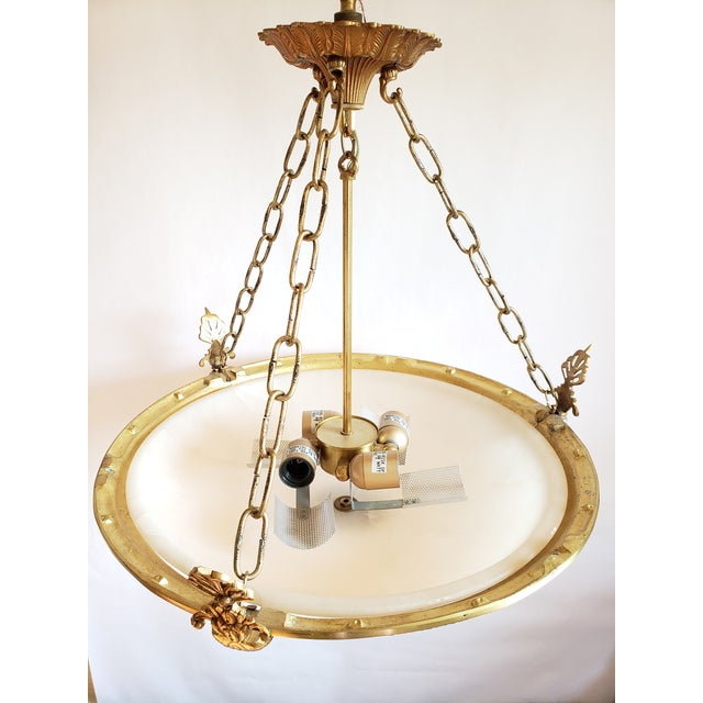 Fine Neoclassical Empire Style Alabaster & Dore Bronze Chandelier For Sale - Image 10 of 12