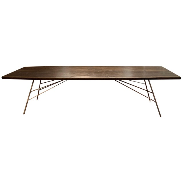 Industrial Viento Ray Dark Steel and Reclaimed Wood Dining Table For Sale - Image 13 of 13