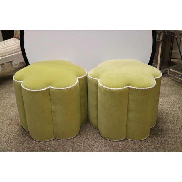 Chartreuse Custom Ottoman's, a Pair - Image 8 of 9