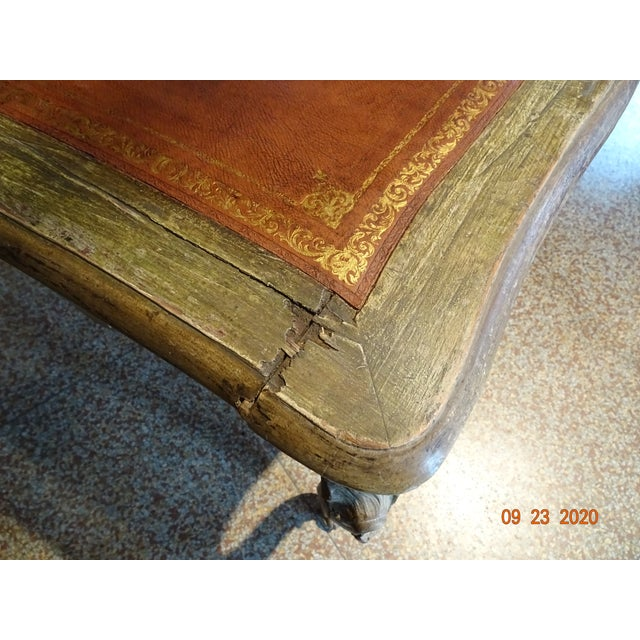 Wood 19th Century French Writing Desk With Leather Top For Sale - Image 7 of 13
