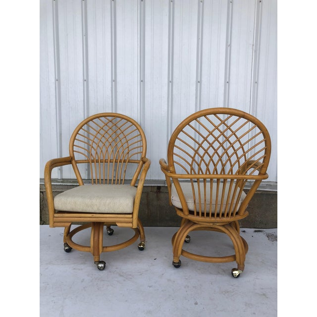 Vintage Glass Top Rattan Table and Wheeled Chairs Set - Set of 5 For Sale - Image 11 of 13