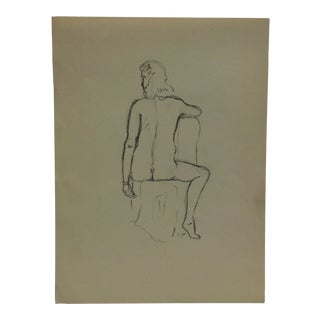 """Vintage Original Drawing on Paper, """"Sitting Nude Rear"""" by Tom Sturges Jr., Circa 1945 For Sale"""