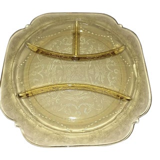 Federal Madrid Depression Glass Yellow 4-Part Divided Plate For Sale
