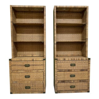 Vintage Wicker Wall Unit Bookshelves and Cabinets For Sale