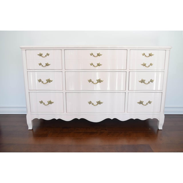 French Provincial Huntley Glossy Pink Lacquer Dresser For Sale - Image 13 of 13